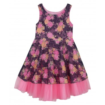 Silverthread Net Dress With Contrast Frills  Blue & Pink