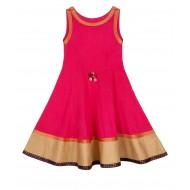 Silverthread Anarkali Style Indo Western Dress Pink