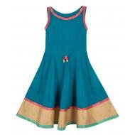 Silverthread Anarkali Style Indo Western Dress Teal Blue