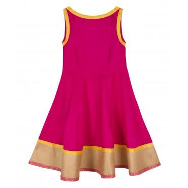 Silverthread Anarkali Style Indo Western Dress Fuschia