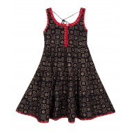Silverthread Flared Cotton Dress Black Red