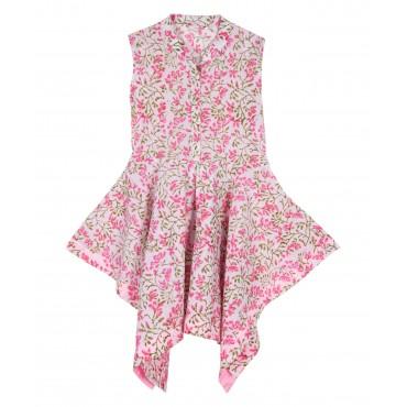 Silverthread Stylish Asymmetric Dress White Pink