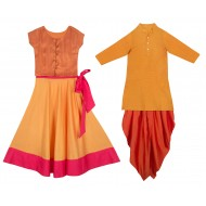 Silverthread Kurta with Dhoti Yellow Orange