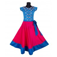 Silverthread Stylish Lehnga With Bow & Brocade Choli Fuschia Blue