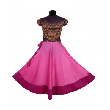 Silverthread Brocade Choli Lehnga With Bow Pink