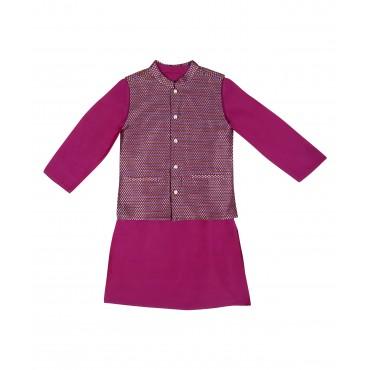 Silverthread Plain Kurta With Festive Jacket Purple