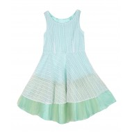 Silverthread Flared Net Dress White Green