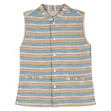 Silverthread Woven Brocade Jacket Blue Beige