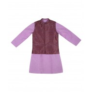 Silverthread Linen Kurta With Brocade Jacket lilac Purple