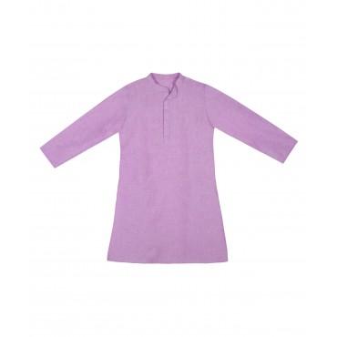 Silverthread Linen Kurta With Brocade Jacket lilac Purple