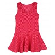 Silverthread Polka Peplum Style Top Dark Pink