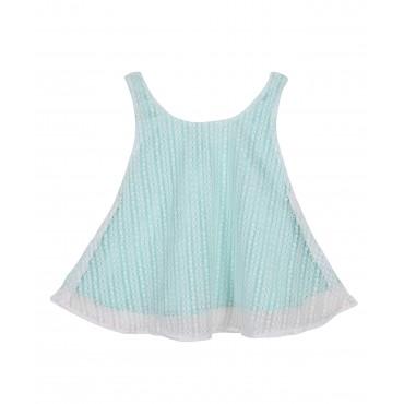 Silverthread Casual Partywear Top White Green