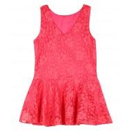 Silverthread Peplum Style Net Top Pink