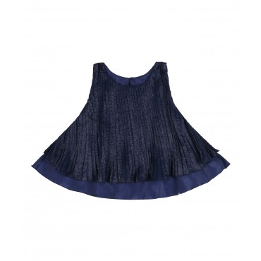 Silverthread Crinkled Layered Top Navy Blue