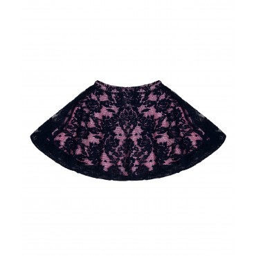 Silverthread Net Skirt Navy Blue Pink