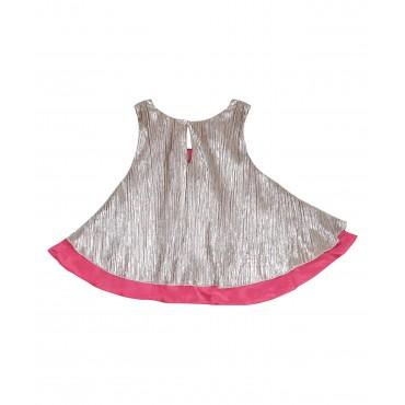 Silverthread Crinkled Top Golden & Pink