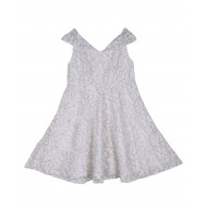 Silverthread Elegant Net Dress White