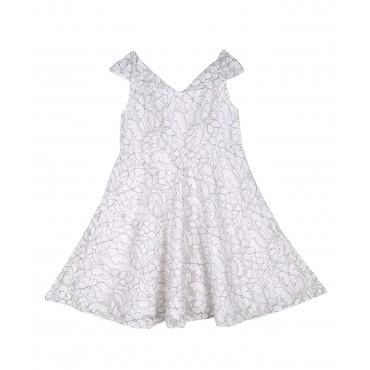 Silverthread Elegant Net Dress White