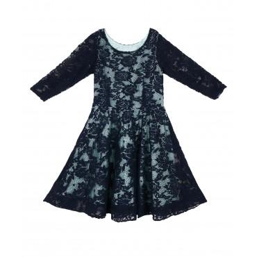 Silverthread Stylish Net Dress Navy Blue Green