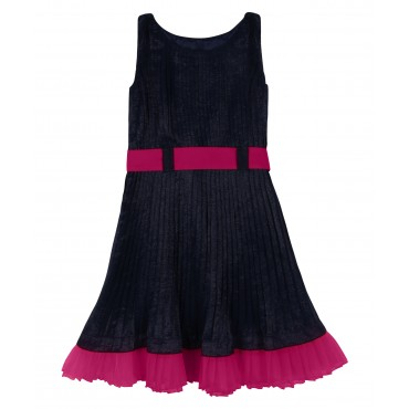 Silverthread Crinkled Dress With Contrast Hem Blue Fuschia