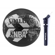 Spalding 2015 ALLEY OOP Basket Ball - Size 7 (Black  ) +  Nivia Ball Air Pump