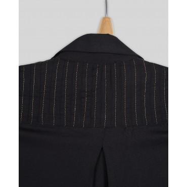 Silverthread Block Print Inlays Dress Black