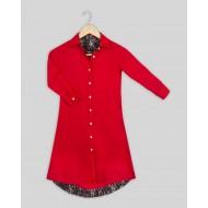 Silverthread Block Print Inlays Dress Red