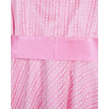 Silverthread  White Net with Contrast Hot Pink Lining Party Wear Dress