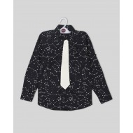 Silverthread Smart Party Wear Shirt Black