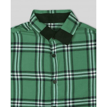 Silverthread Smart Check Print Shirt Green