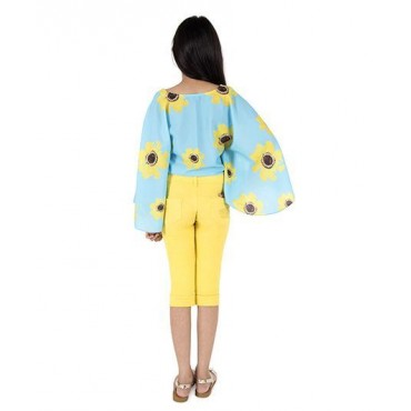 Silverthread Sunflower Printed Cape Top, Blue & Yellow