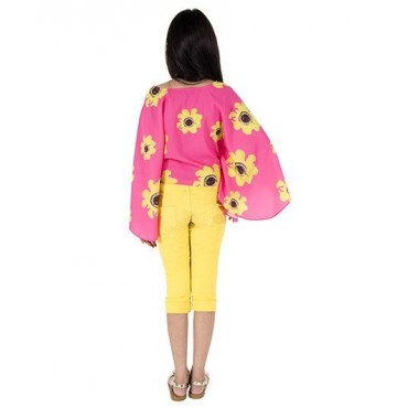 Silverthread Sunflower Printed Cape Top, Pink & Yellow
