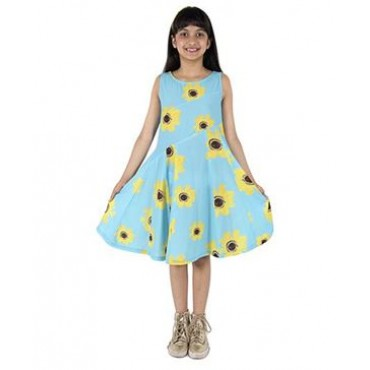 Silverthread Lovely Dress With A Sunflower Print, Blue & Yellow