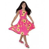 Silverthread Lovely Dress With A Sunflower Print, Fuschia & Yellow