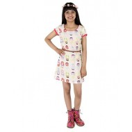 Silverthread Knee Length Dress With Babushka Doll Print & A Cute Beads Belt, Beige