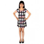 Silverthread Knee Length Dress With Babushka Doll Print & A Cute Beads Belt, Black