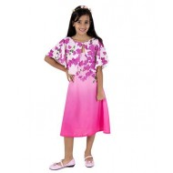 Silverthread Straight Knee Length Dress With A Cape In Beautiful Bougainville Print, Pink