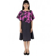 Silverthread Straight Knee Length Dress With A Cape In Beautiful Bougainville Print, Black