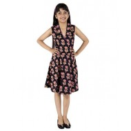 Silverthread Printed Dress In Angarakha Style With Plain Fusing, Black & Pink