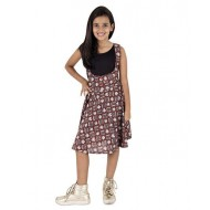Silverthread Printed Dungaree Skirt With Plain Top, Maroon & Black