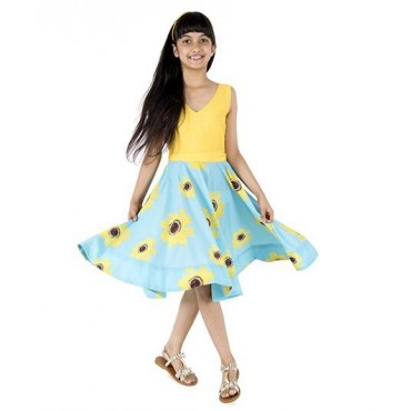 Silverthread Sunflower Printed Dress, Yellow & Blue