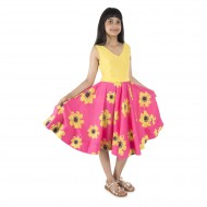 Silverthread Sunflower Printed Dress, Yellow & Pink
