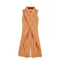 Silverthread Overlap Dress In Triangle Prints, Yellow & Red