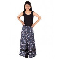 Silverthread Umbrella Skirt In Jaipuri, Blue & Brown