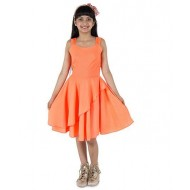 Silverthread Stylish Flair Dress In Polka Dots, Peach & Neon