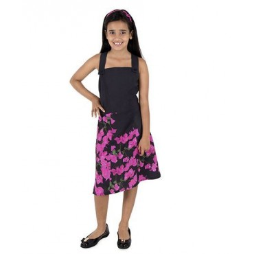 Silverthread Dress With Bougainville Print, Black & Pink
