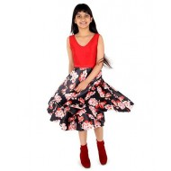 Silverthread Flair Dress, Red & Black