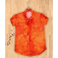 Silverthread Knotted Style Collar Printed Top Orange