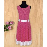 Silverthread Stylish Polka Dot Bow Dress Dark Pink