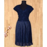 Silverthread Trendy Net Yolk Dress Navy Blue